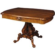 19th Century French Living Room Center Table In Walnut Wood