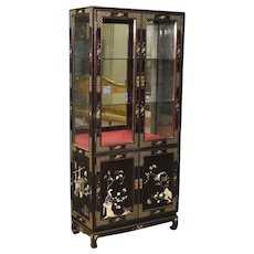 20th Century French Lacquered Chinoiserie Display Cabinet