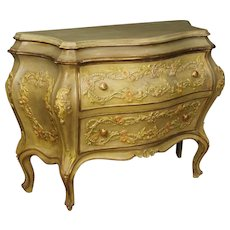20th Century Venetian Lacquered And Gilt Chest Of Drawers In Wood