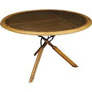 20th Century Spanish Design Table in Bamboo Wood And Metal