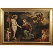 18th Century Flemish Religious Painting Oil On Panel