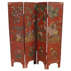 20th Century French Lacquered Chinoiserie Screen In Wood And Plaster