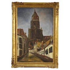 20th Century Dutch Oil Painting View Of Cathedral