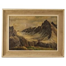 20th century French Mountain Landscape Painting Oil On Canvas