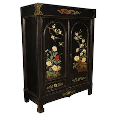20th Century French Cabinet In Lacquered And Painted Chinoiserie Wood