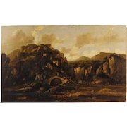 20th Century Italian Oil On Canvas Painting Depicting Landscape With Ruins And Characters