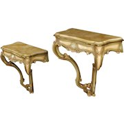 20th Century Pair Of Venetian Lacquered And Gilt Console Tables In Wood With Marble Top