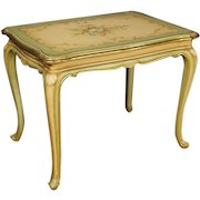 20th Century Italian Living Room Coffee Table In Lacquered, Gilt, Painted Wood With Floral Decorations