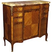 20th Century French Sideboard In Rosewood, Mahogany, Maple and Fruitwood with Gilt Bronzes and Marble Top