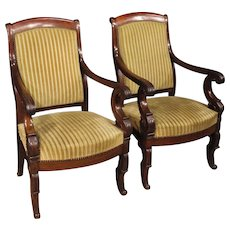 19th Century Pair Of French Armchairs In Velours