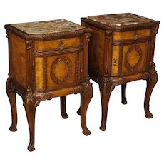 20th Century Pair Of Italian Bedside Tables In Wood With Marble Top
