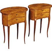 20th Century French Pair Of Inlaid Bedside Tables in Rosewood, Maple and Fruitwood