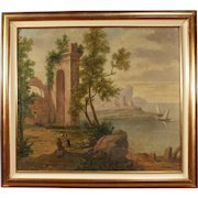 20th Century Italian Seascape Painting Oil On Canvas
