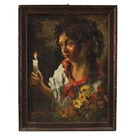 20th Century Italian Gipsy Portrait Painting