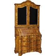 20th Century Italian Trumeau Inlaid In Walnut, Burl, Maple Wood With Mirrors