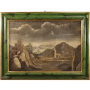 18th Century Antique Italian Landscape With Architectures Painting Oil On Canvas With Lacquered Frame