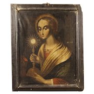 18th Century Italian Religious Painting Oil On Canvas With Wooden Frame