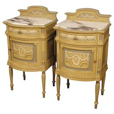 20th Century Pair Of Italian Bedside Tables in Lacquered Wood with Marble Top in Louis XVI Style