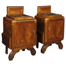 20th Century Pair Of Italian Bedside Tables In Art Deco Style In Walnut Wood With Marble Top