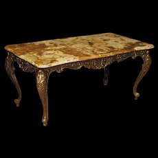 20th Century French Coffee Table In Bronzed Iron With Onyx Top