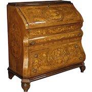 20th Century Dutch Inlaid Bureau Desk In Walnut, Burl, Rosewood, Mahogany, Maple, Fruitwood
