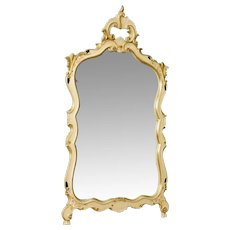 20th Century Venetian Mirror In Lacquered, Painted, Gilt Plaster and Wood With Floral Decorations