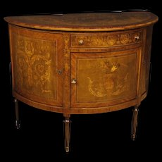 20th Century Italian Demilune Sideboard In Inlaid Wood in Louis XVI Style with 3 Doors and 1 Drawer