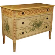 20th Century French Lacquered And Painted Dresser In Wood With 3 Drawers In Louis XVI Style