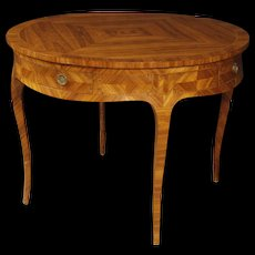 20th Century French Inlaid Leaf Dining Table In Rosewood, Maple And Ebonized Wood In Louis XV Style