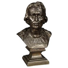 20th Century Italian In Chiseled And Bronzed Metal Bust Representing A Noble Figure