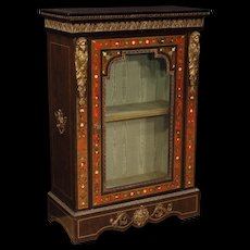 20th Century French Vitrine In Painted Wood With Bronzes and Brass in Boulle Style