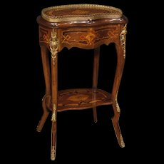 20th Century French Inlaid Sewing Table In Mahogany, Maple, Rosewood, Fruitwood, Palisander With Gilt Brass