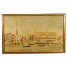 20th Century Dutch Painting Oil On Canvas View Of Piazza San Marco In Venice Signed And Dated 1965