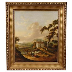 19th Century Dutch Painting Oil On Canvas Landscape With Characters And Architecture