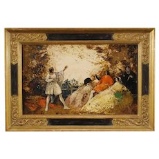 20th Century French Signed Painting Oil on Board Romantic Landscape With Characters Impressionist Style