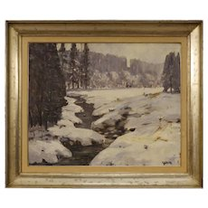 20th Century Italian Signed Painting Oil On Canvas Snowy Landscape