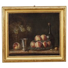 19th Century French Still Life Painting Oil On Canvas With Gilt Frame
