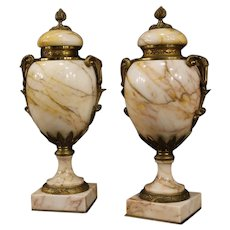 20th Century Pair Of French Vases In Marble With Bronze And Gilt Brass