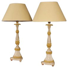 19th Century Pair Of French Lamps In Lacquered Wood