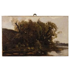20th Century Dutch Signed Impressionist Landscape Painting Oil On Canvas