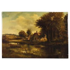 19th Century Dutch Signed Painting Oil On Canvas Landscape With Characters