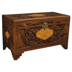 20th Century Chinese Trunk in Chiselled and Carved Wood With Oriental Landscapes And Figures