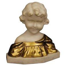 20th Century Belgian Sculpture in Marble And Gilt Bronze Child Bust Signed G. Van Vaerenbergh