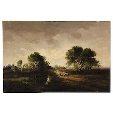 20th Century Dutch Signed Painting Oil On Canvas Landscape With Shepherd And Sheep