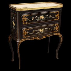 20th Century French Commode In Lacquered And Painted Wood With Marble Top And Floral Decorations