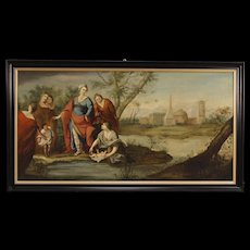 18th Century French Religious Painting Biblical Scene Oil On Canvas With Lacquered Modern Frame