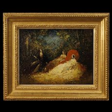 20th Century French Signed Painting Oil On Masonite Romantic Scene In Impressionist Style