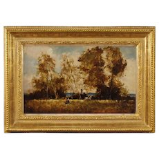 20th Century French Signed Painting Oil On Board Landscape With Characters