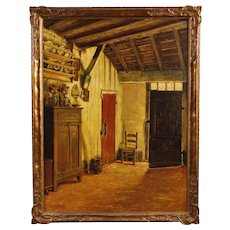 20th Century Belgian Interior Scene Painting Oil On Canvas Signed By Pieter Stobbaerts