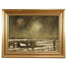 20th Century Dutch Signed Winter Landscape Painting Oil On Canvas With Gilt Frame